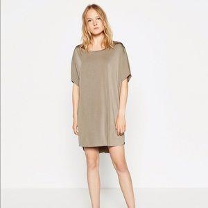 Zara Metallic Shiny T-Shirt Dress NWT